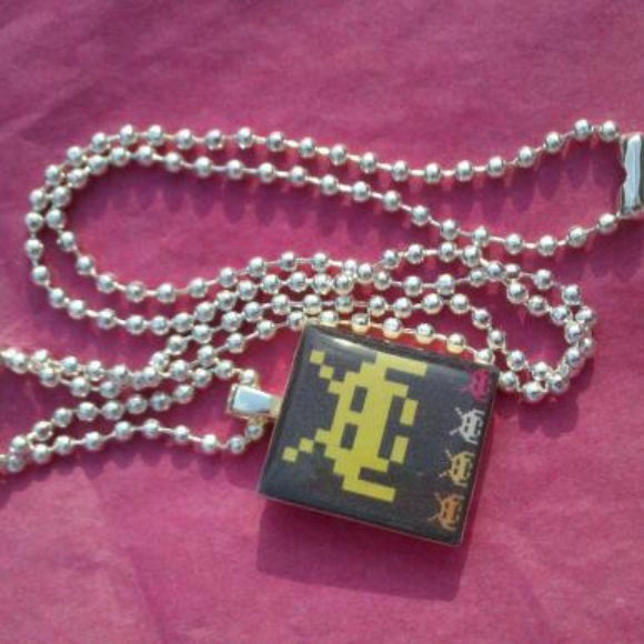 Space Invaders Scrabble Tile Necklace