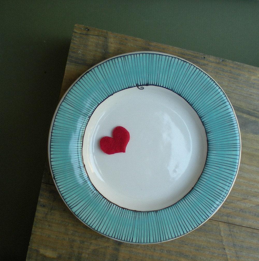 blue ceramic plate with pinwheel stripe design, dessert plate, gift for valentine's day