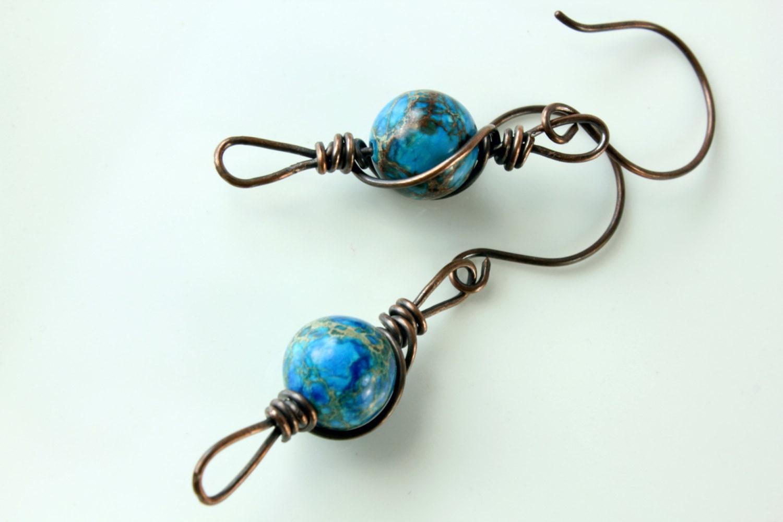 Blue Agate earrings, Copper earrings, copper wire wrap earrings with blue gemstone, statement earrings, dangle earrings, holiday gift - AliraTreasures