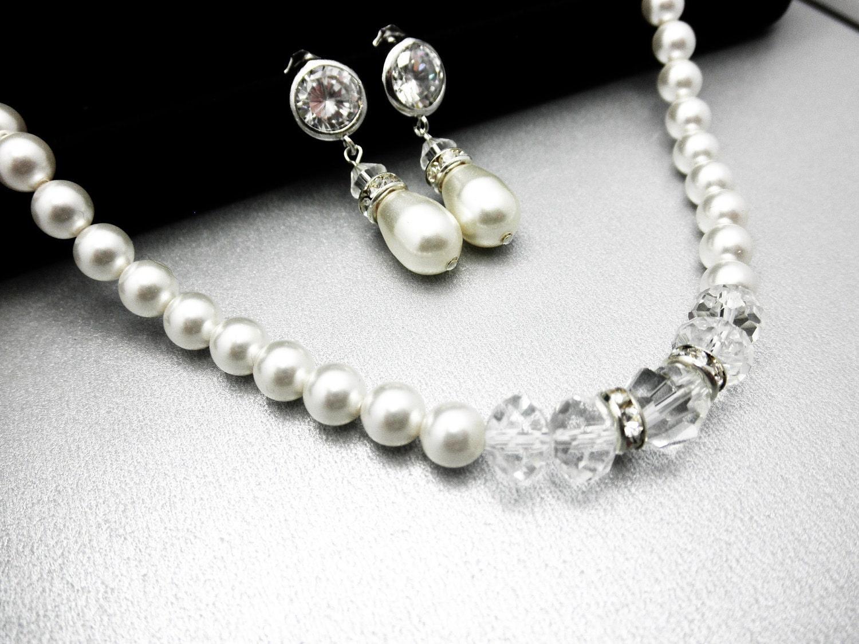 Bridal Jewelry Set, Wedding Jewelry Set Radiance Bridal Jewelry Set- Pearl Rhinestone and Swarovski Crystal Free Shipping