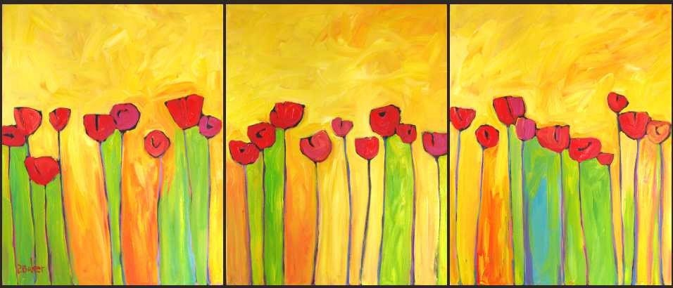 Abstract Poppies on Yellow