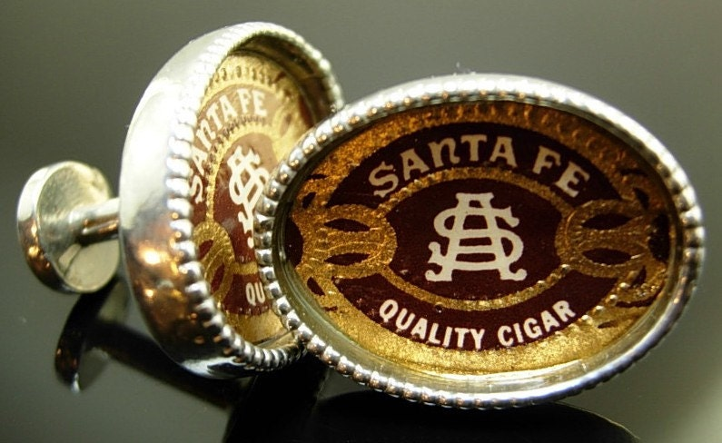 J50 NEW Cufflinks Vintage Cigar Wrapper Santa Fe Quality Brand