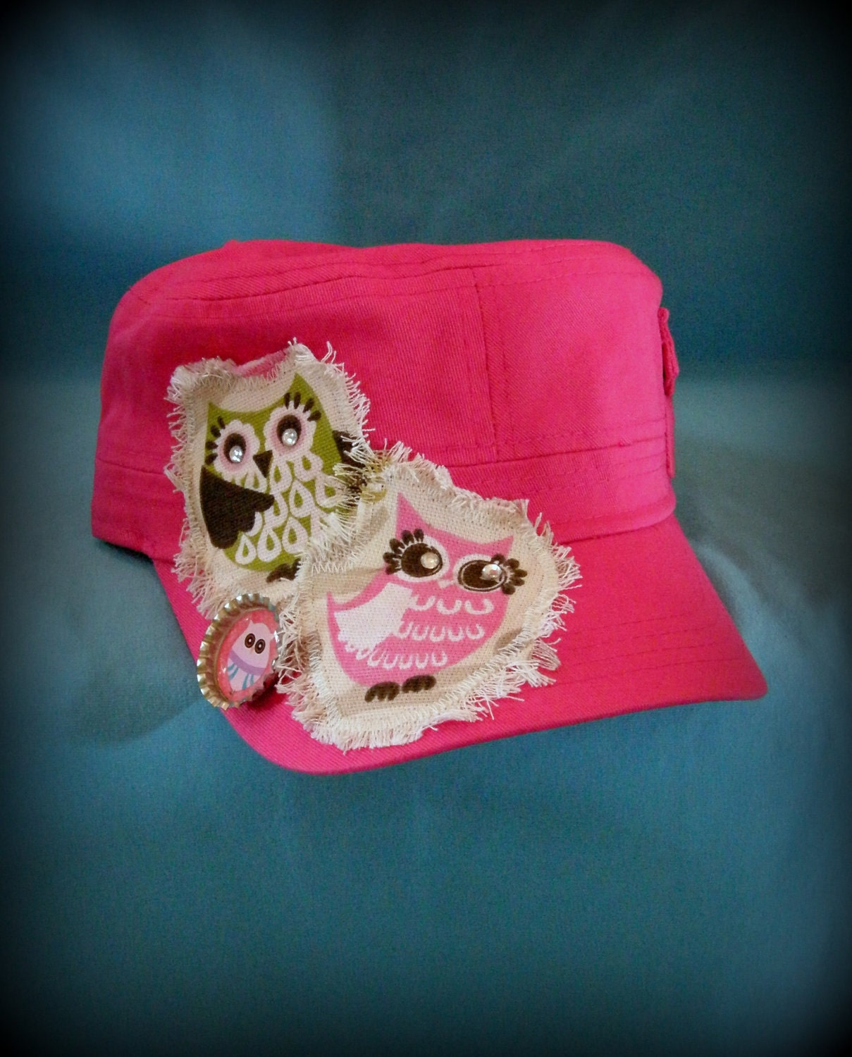 Ladies Pink Cadet Cap with Owls and added embellishments for great style and bling.