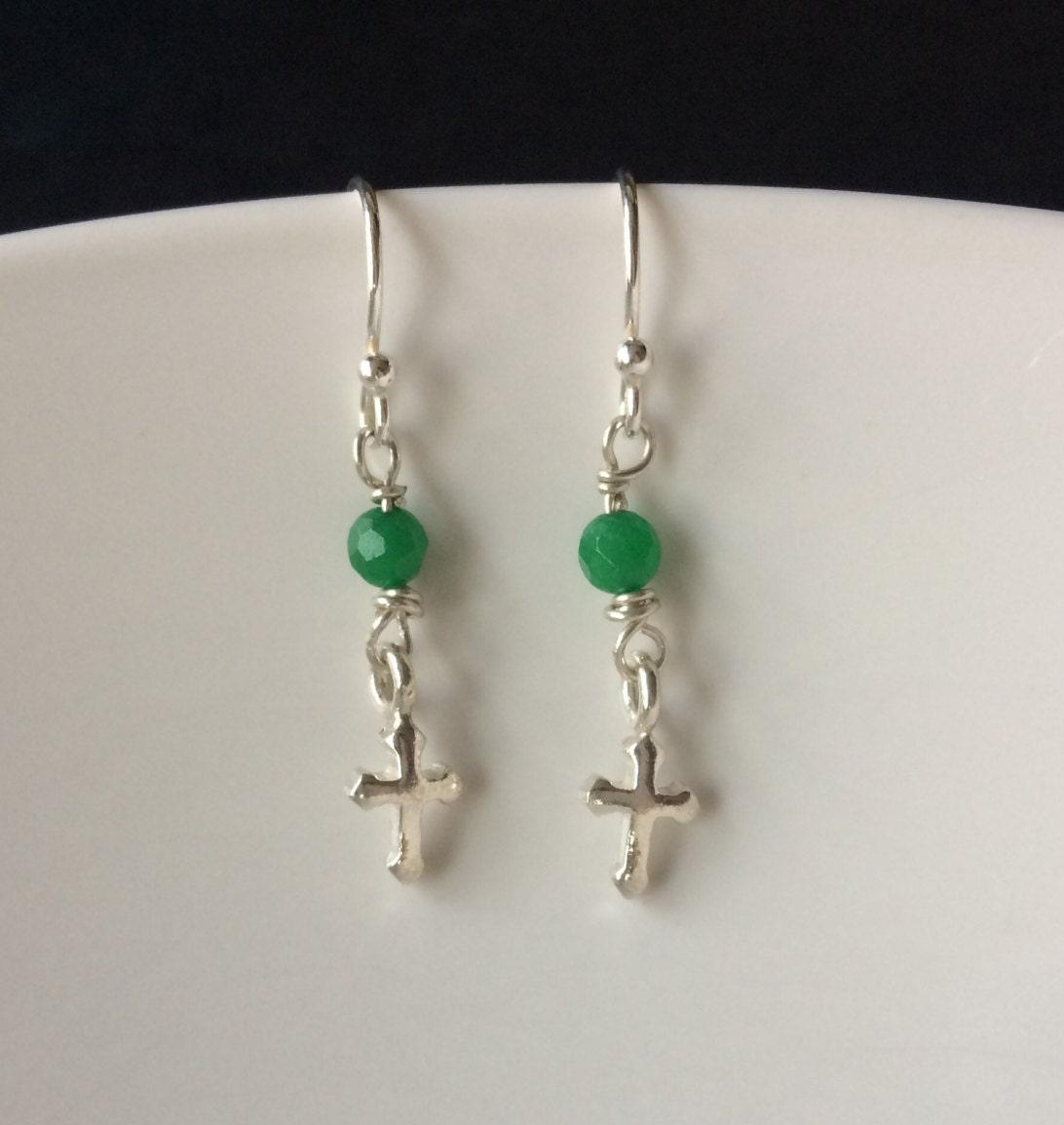 Green Emerald Cross Earrings Silver Cross Dangle Earrings Emerald Gemstone Earrings May Birthstone Jewelry Gift Emerald Jewellery