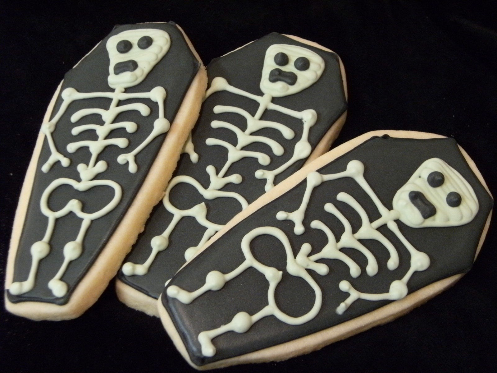 Coffin Skeleton cookies....12 custom decorated sugar cookies