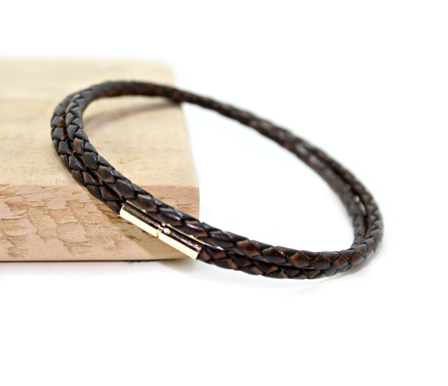 Braided leather bracelet with 9ct gold push and twist clasp  Antique brown double wrap bracelet