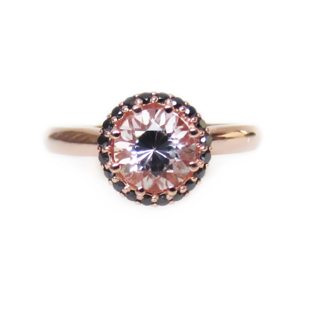 unique engagement ring pink morganite black by