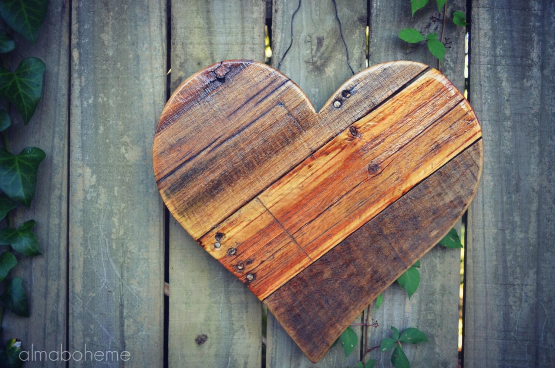 Scrap Wood Door : Rustic reclaimed wood hearts mother s day spring by almaboheme