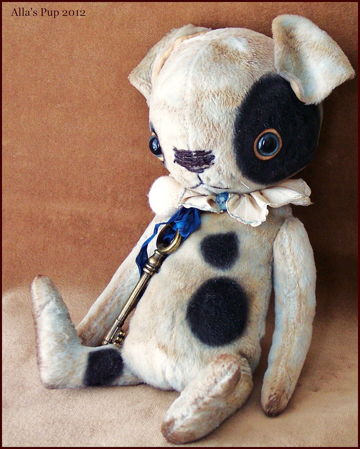 "By Alla Bears original 10"" artist OOAK Vintage Old Prim Puppy Dog art toy doll"