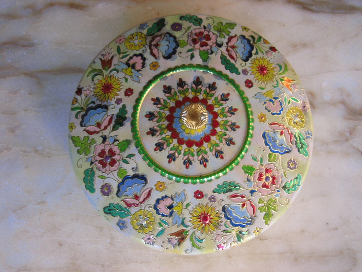 Made in Holland Dainty Floral Vintage Round Tin Box