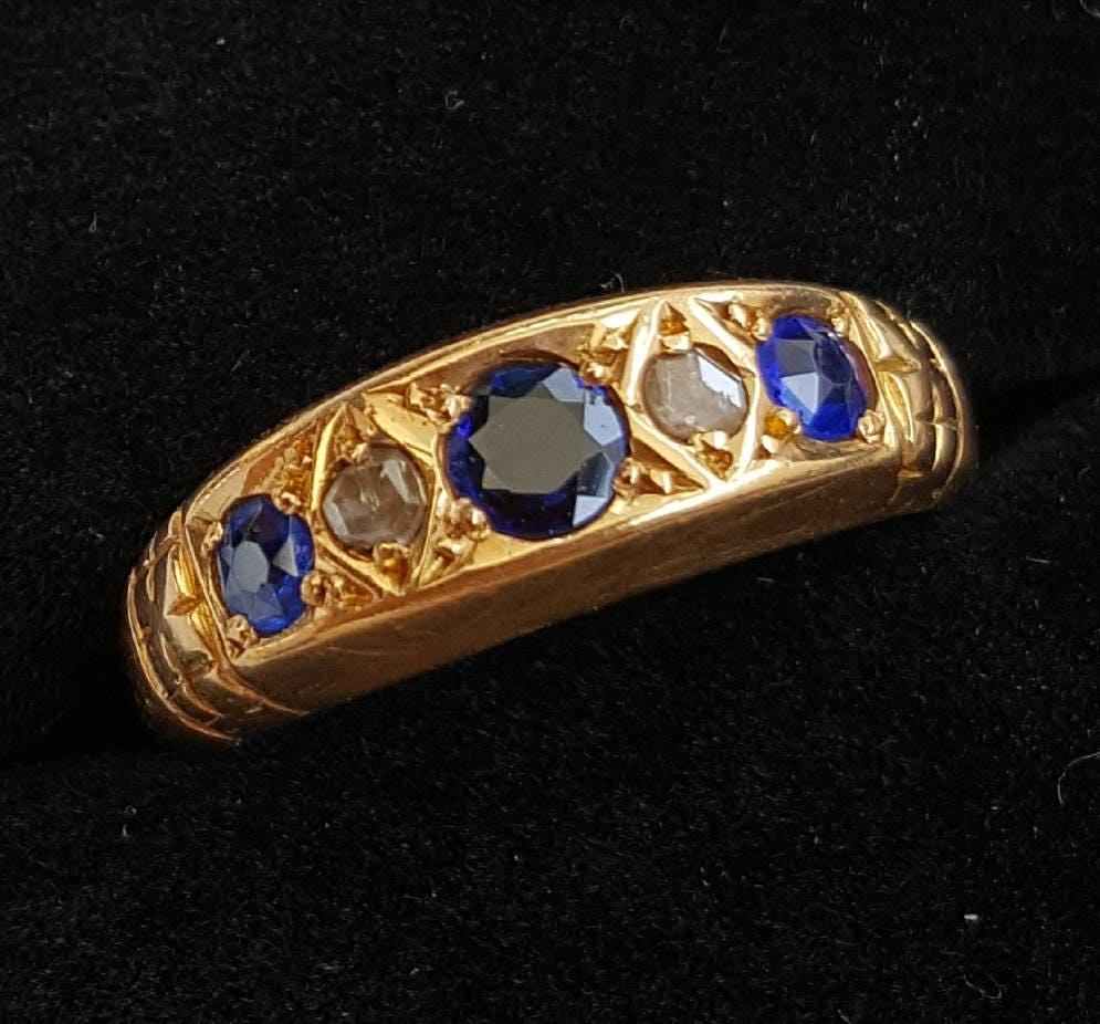 Antique Sapphire and Diamond Ring dated Birmingham 1915