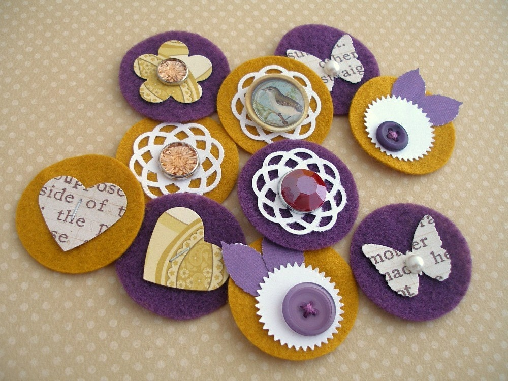 Mustard and Plum - Sweet Spots - Paper and Felt Embellishments