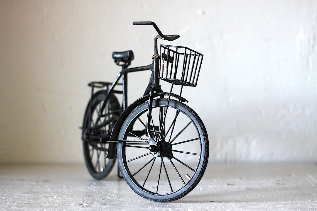 Unique French Vintage Metal Toy Bicycle Hand Made By Artisan 1940s - RueVertdegris