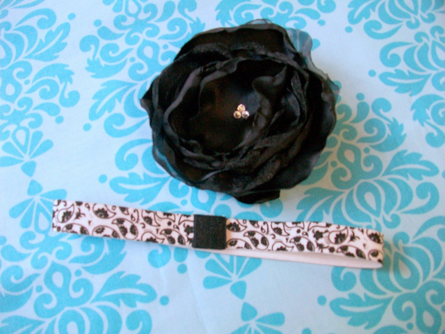 FREE SHIPPING--Sweet and Sassy Beautiful Black Handmade Silk Flower on Interchangeable Soft Satin Stretch White and Black Paisley Headband ALL SIZES available-- Newborn, Baby, Toddler through Adult