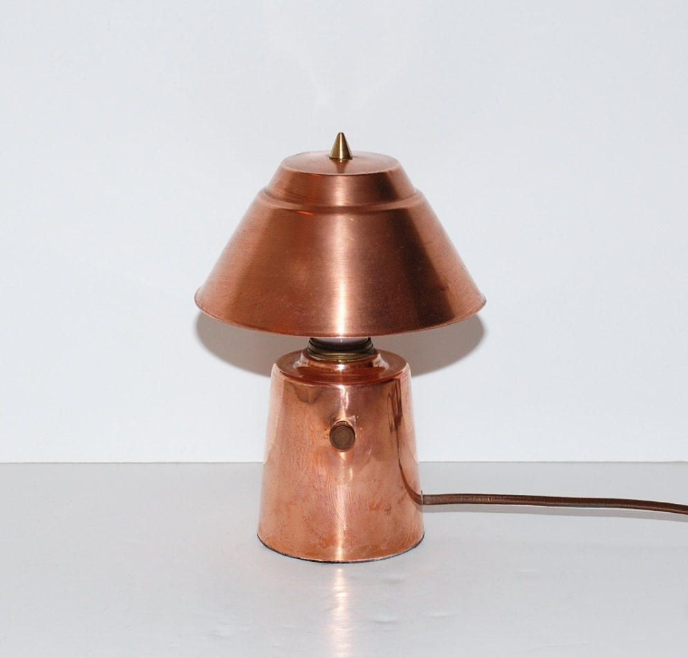 Vintage solid copper small table lamp by abundancy on etsy for Table y copper