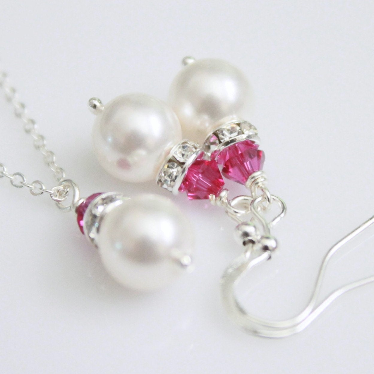 Available in Other Colors, Bridesmaid Gift Set - Swarovski White Pearl and Fuschia Crystal Necklace and Earring Set
