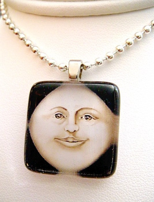 BUY 2 GET 1 FREE Handmade Recycled Glass Image Pendant THE MAN IN THE MOON with 24 inch Ballchain Necklace