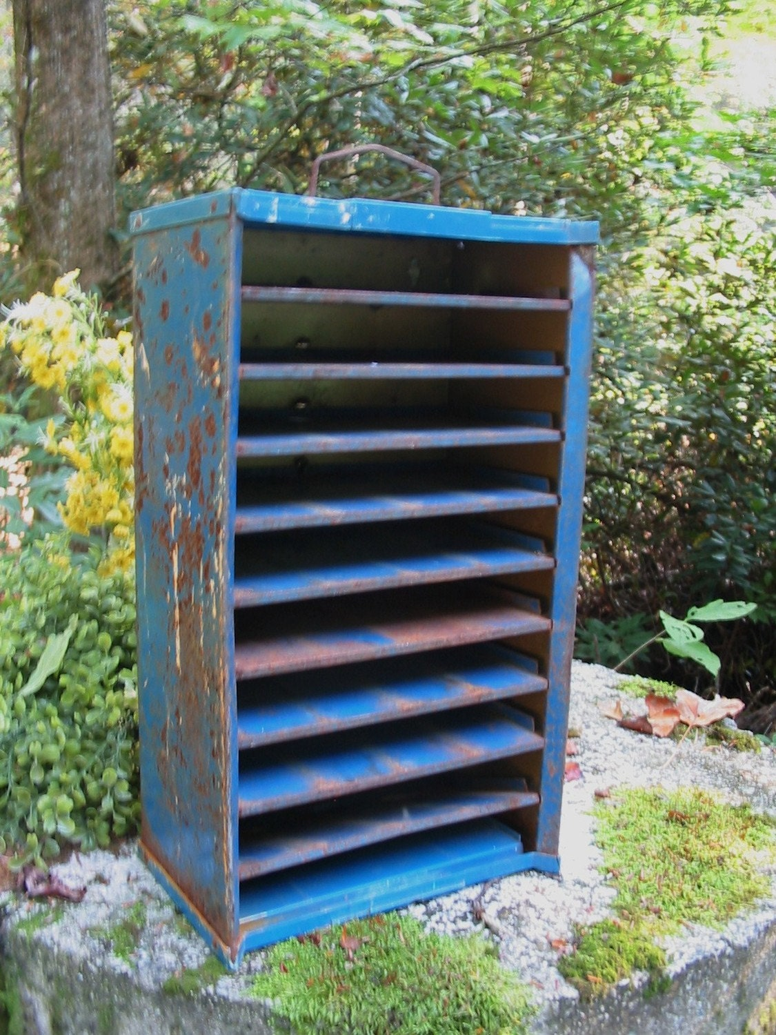OLD Rusty BLUE Salvaged Metal Shelf Cubby for Display or Organizing your Junk