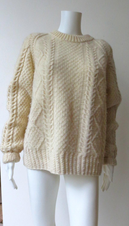 Knitting Patterns Cowl Scarf : Vintage Irish Cream Knit Wool Fishermans Sweater by GladRagsEtc
