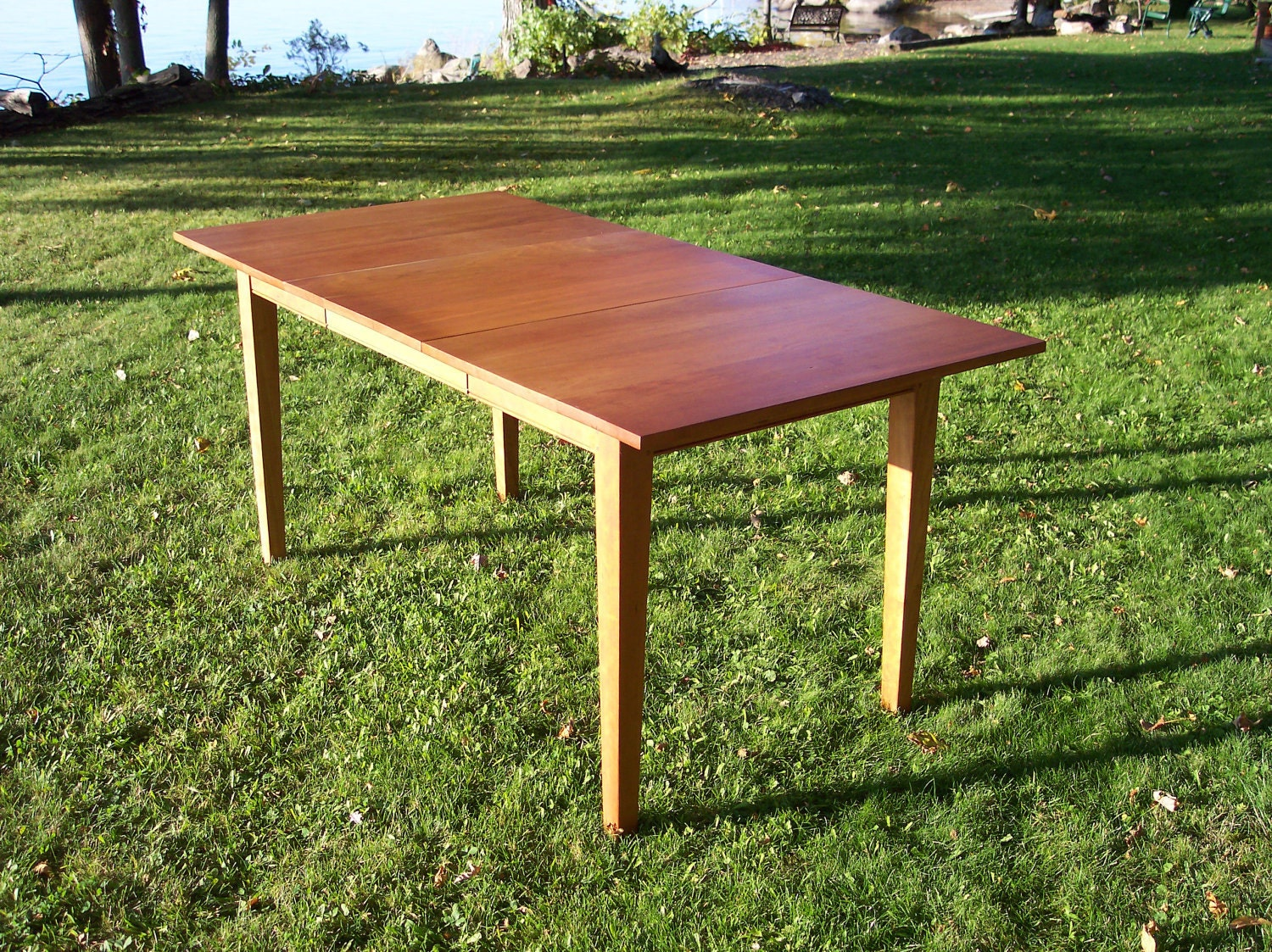 Solid cherry dining table with leaf 64 long 32 by for 32 wide dining table