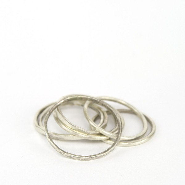 simple sterling silver bands stackable rings by betsyandiya