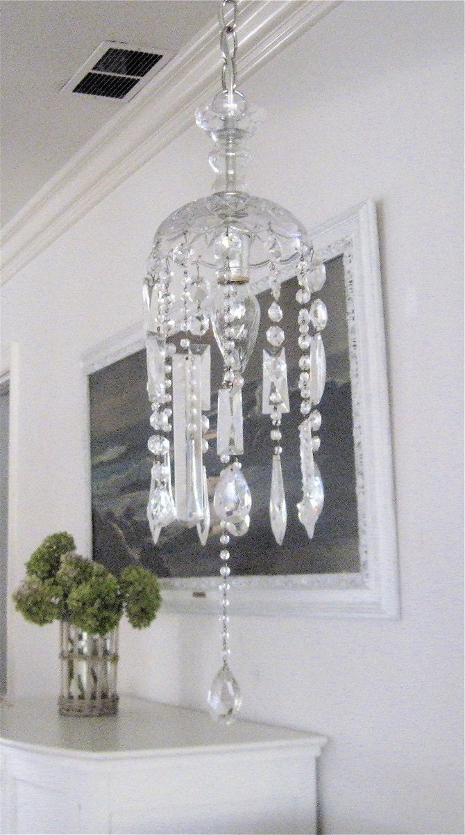 beach house BEADED CHANDELIER Vintage Crystal Strands-