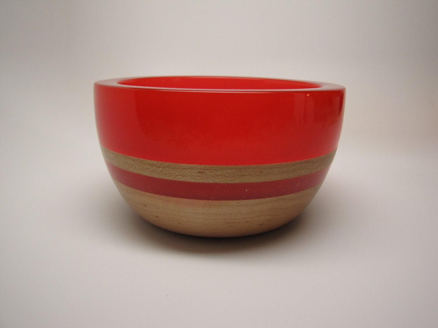 Hard Wood Maple Bowl with a Frost Cherry Red Top & Inlay