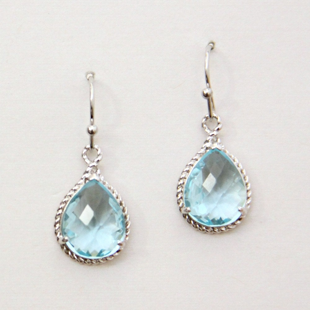 Sicily. Aquamarine Faceted Glass Briolette Earrings in Fancy Silver Setting