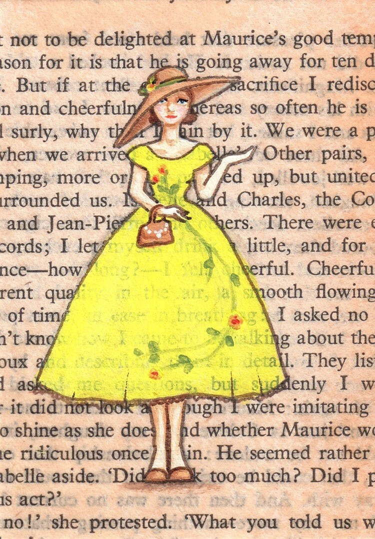 Limited Edition ACEO Print 8 of 20 - Paris, 1953 - Hettie Wears Yellow As Often As Possible - Cours la Reine, Champs Elysees