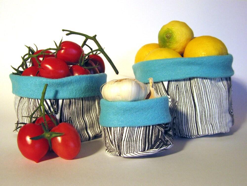 Набор из 3 ручной работы круглого ткани хранения корзин: черно-белое зерно дерева и ярко-розовый экологически чувствовал