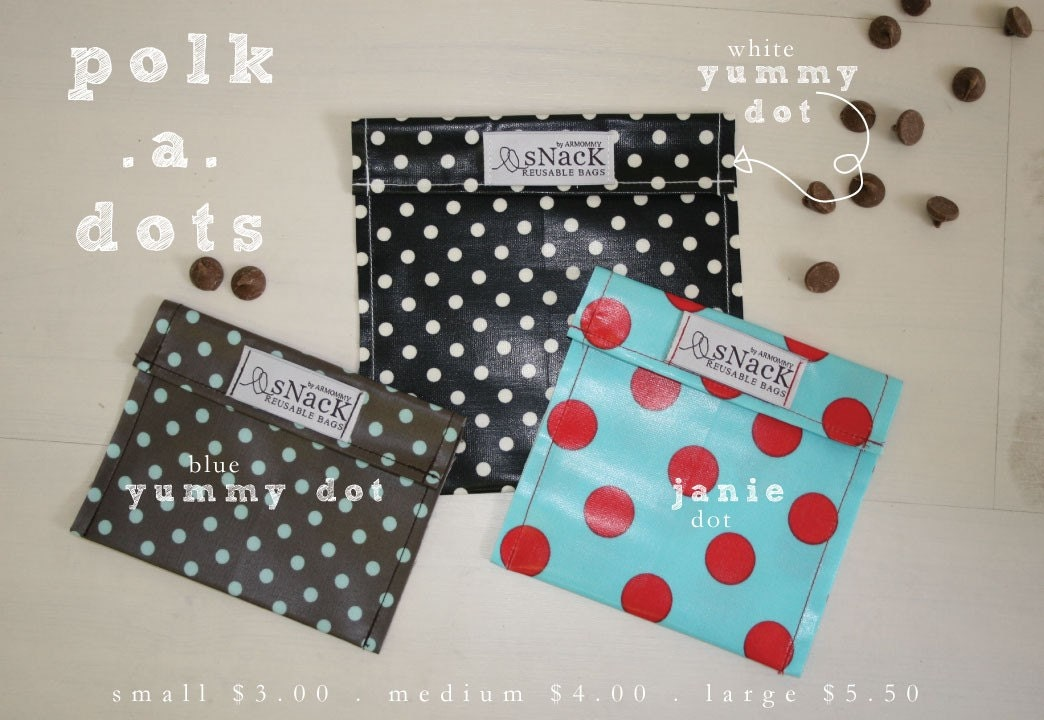 medium snack reusable bags . polk.a.dot patterns
