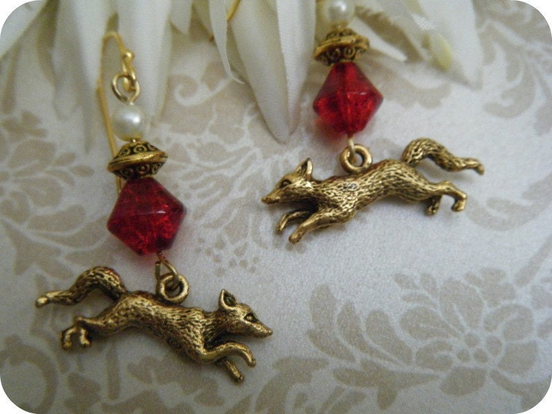 Adorable Little Gold Running Fox Earrings - OOAK