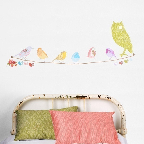 Twitter Birds - Adhesive Fabric Wall Stickers / Decals