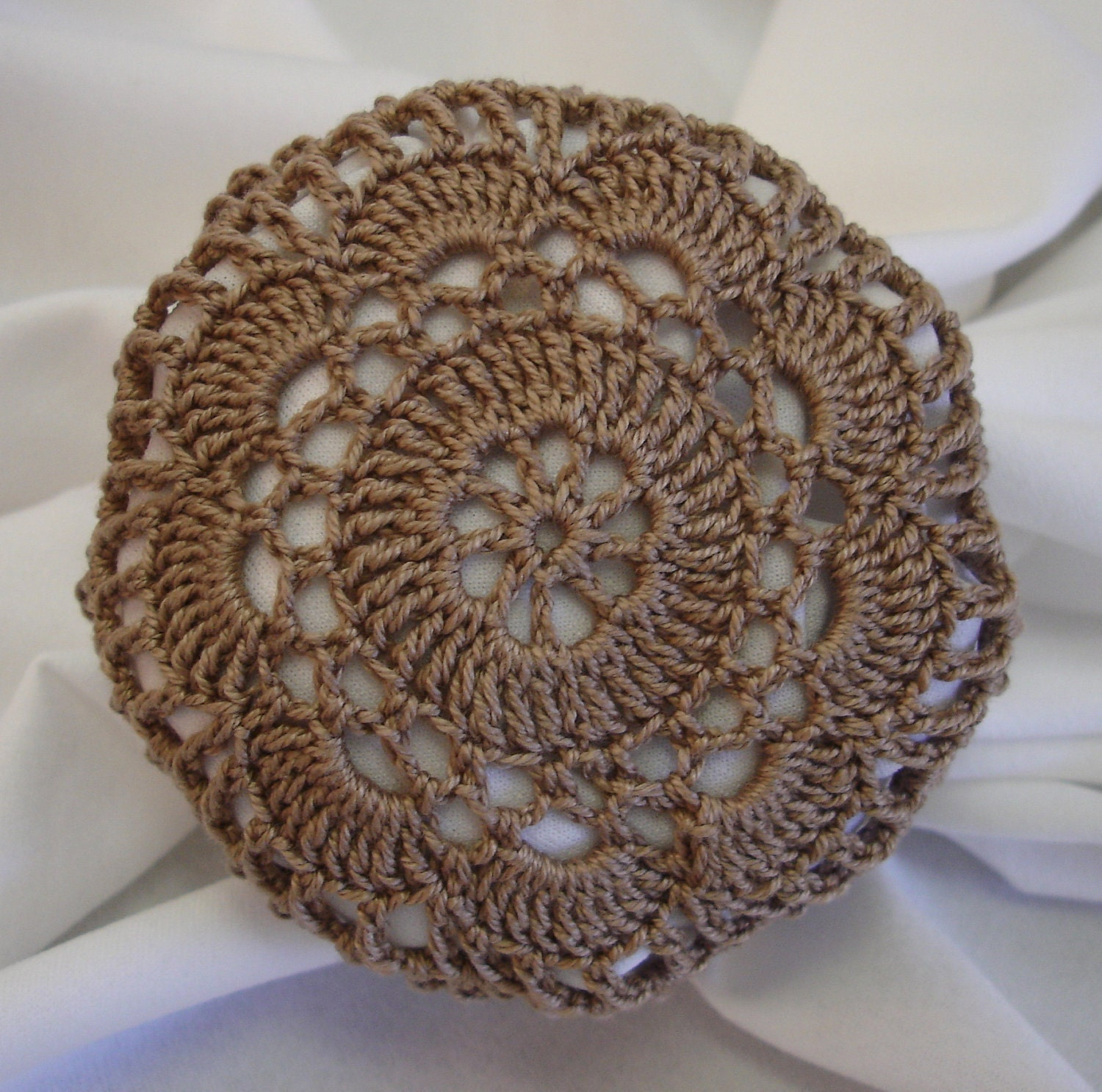 Crocheted Light Brown Hair Net / Bun Cover Flower by mydesertdeals