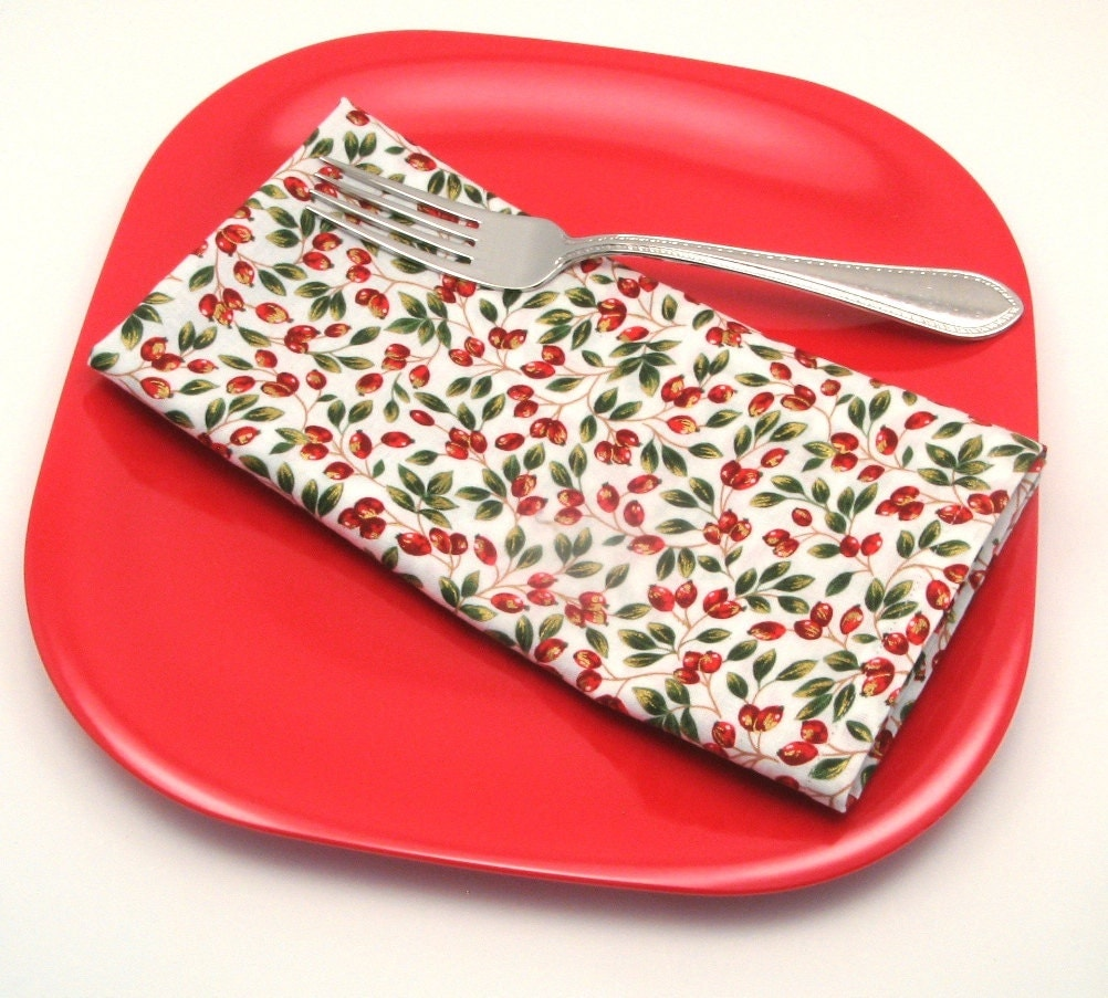 Berries Cloth Napkins, Christmas Red Fabric, Michael Miller, 18 Inch, Set of Two - LaurelSusanStudio