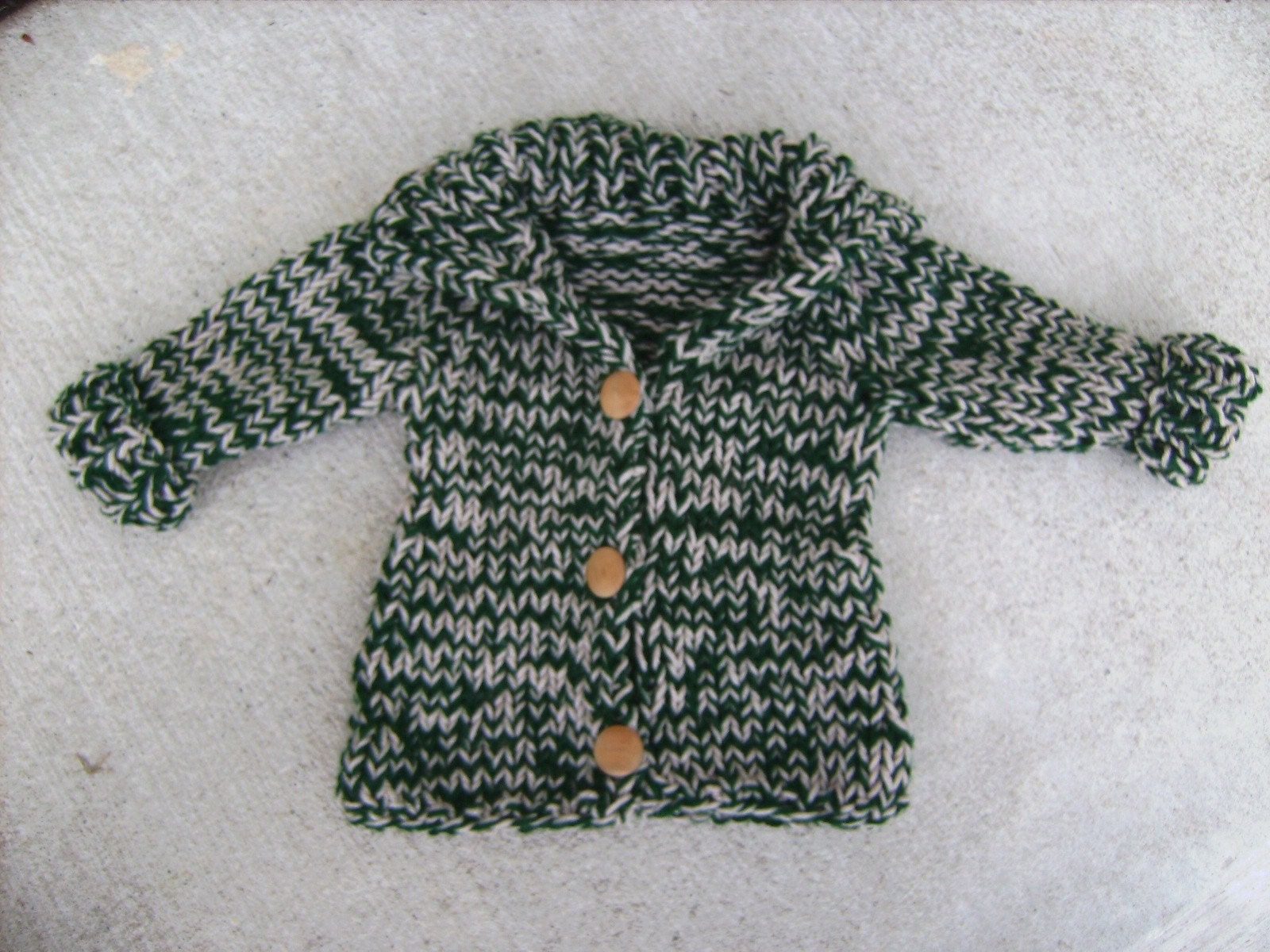 Dark Green Beige Hand Knit Cardigan for Toddler Boy or Girl 12 Months and Older