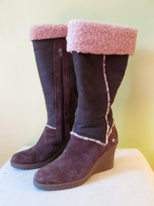 ugg australia chocolate brown high heel winter by
