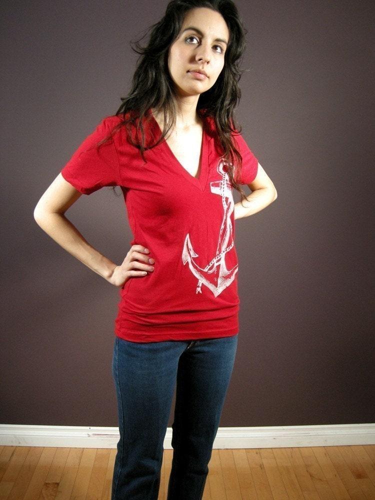 Anchor print low cut tshirt women S/M/L