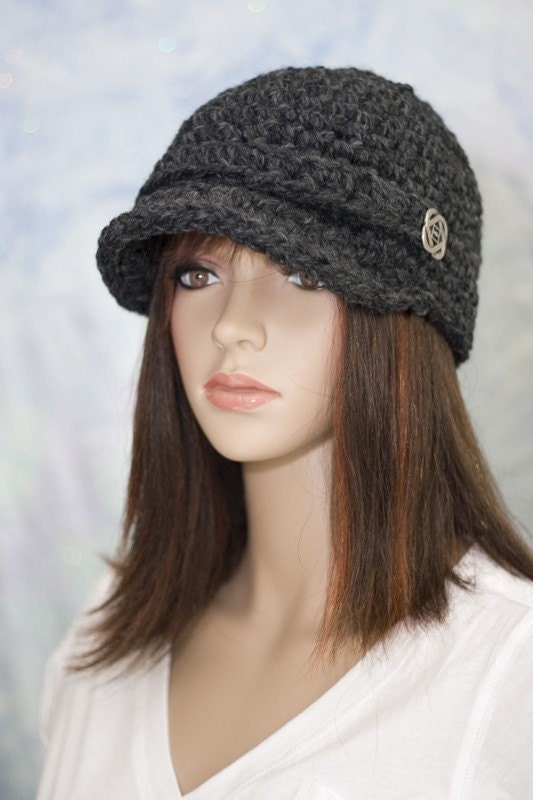 Hat - Gray with Brim, Strap and Button - UNISEX