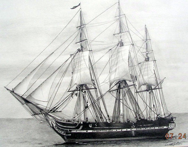 U S S Constitution Old Ironsides Graphite Pencil By