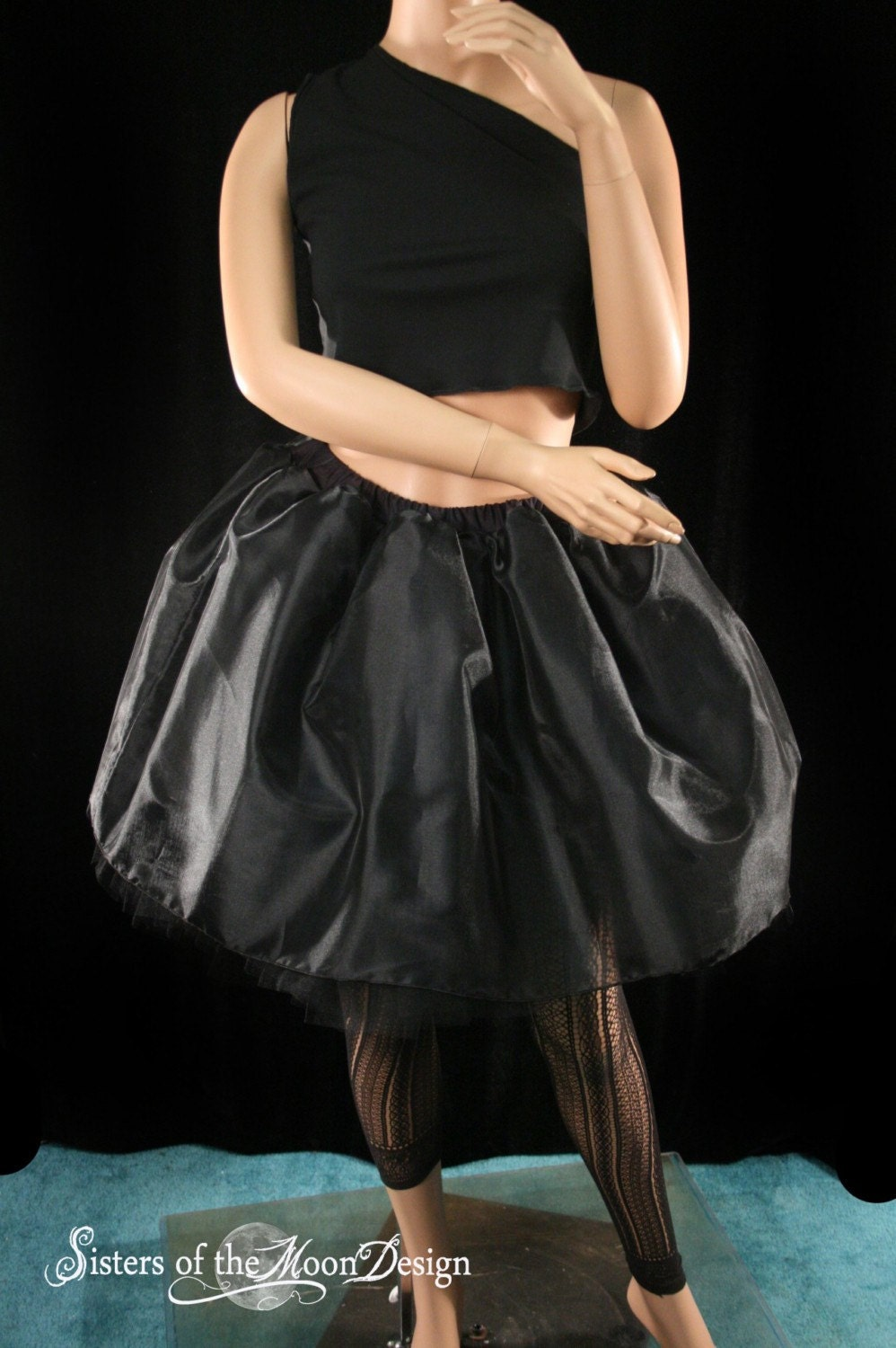 Black Organza covered tutu skirt petticoat-- You Choose Size -- Sisters of the Moon