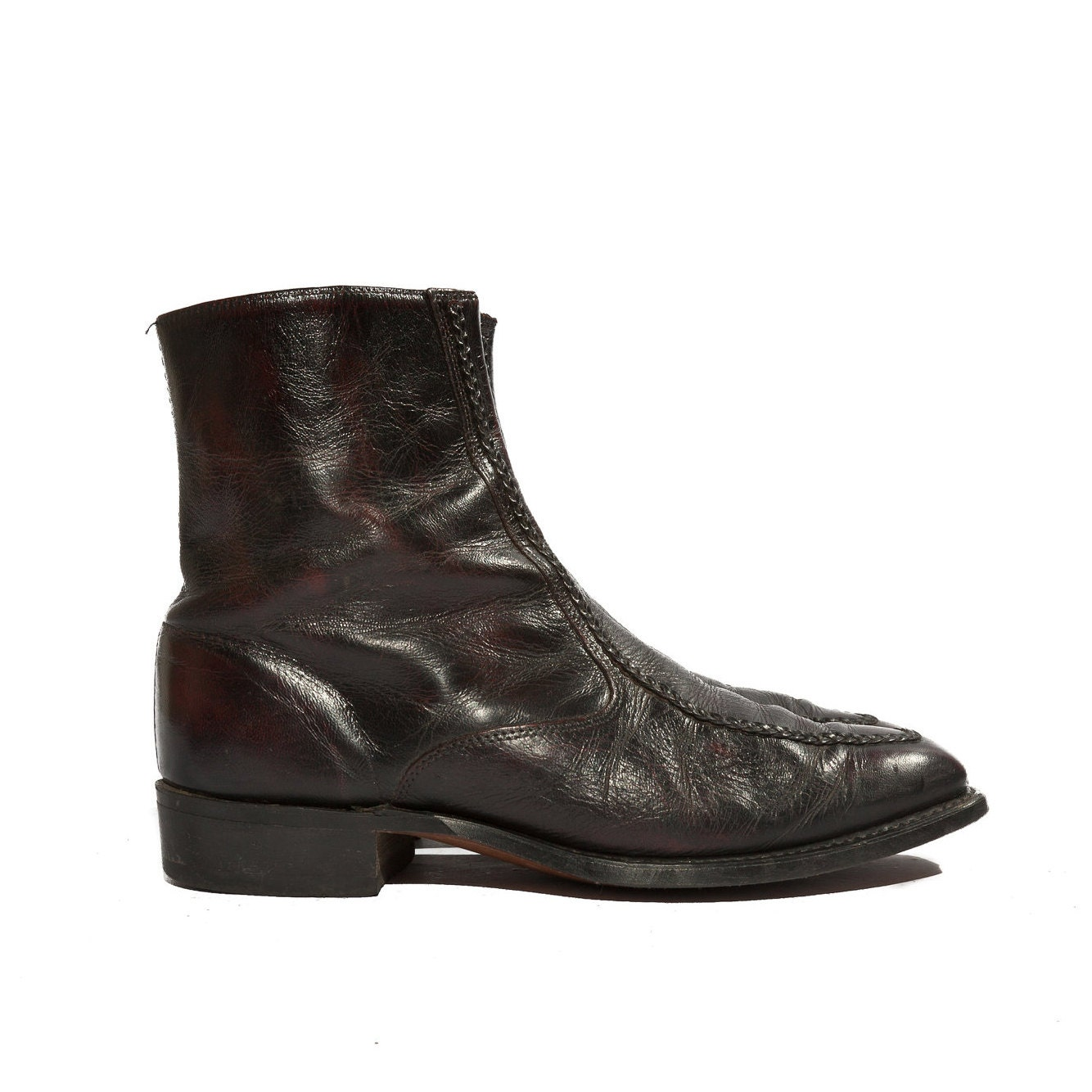 s ankle zipper boots cordovan by rabbithousevintage