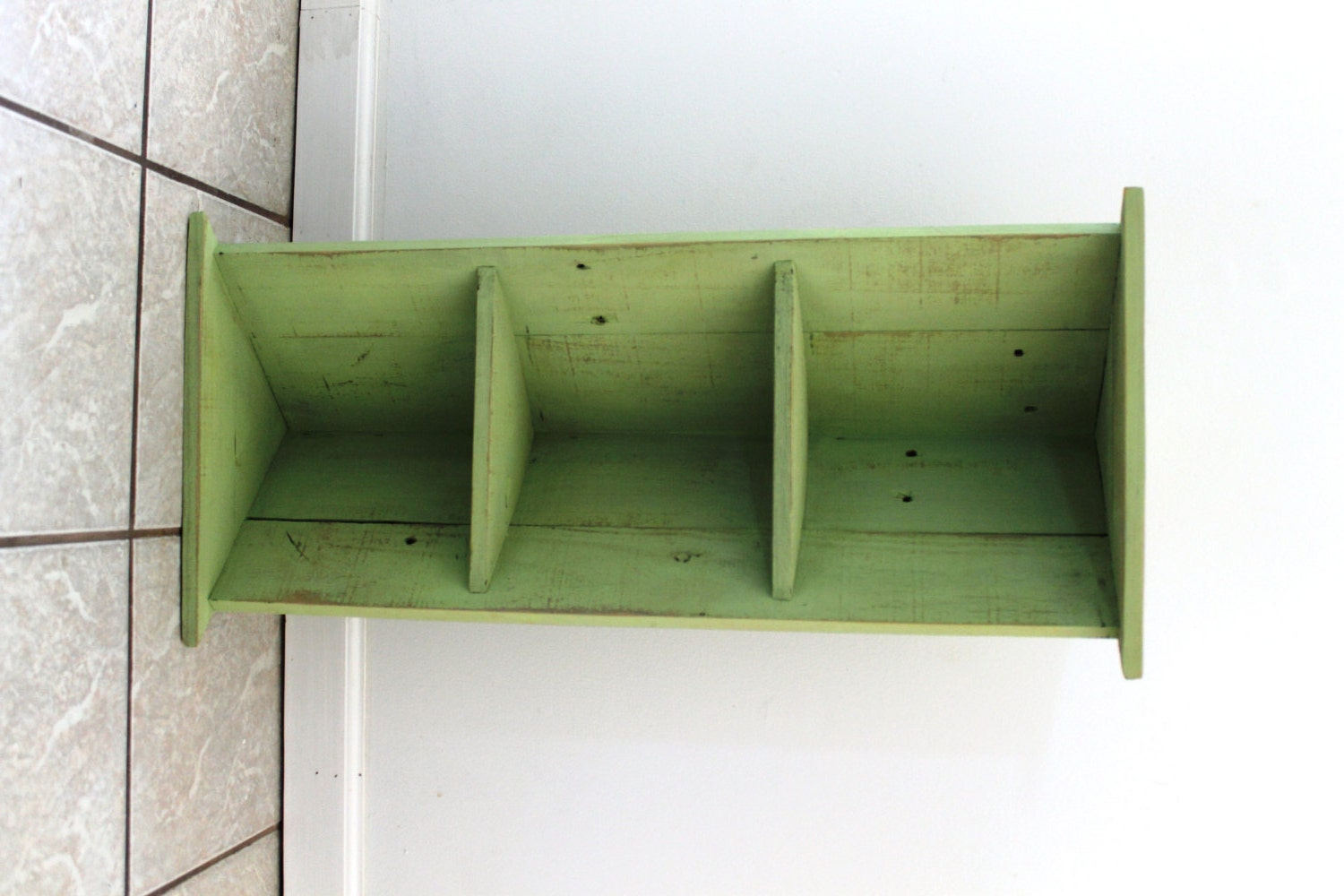 "Handmade Corner Bookcase, Lime, Two Shelves, Reclaimed Wood--15""W x 31.5""H x 10.5""L, Beach Inspired"