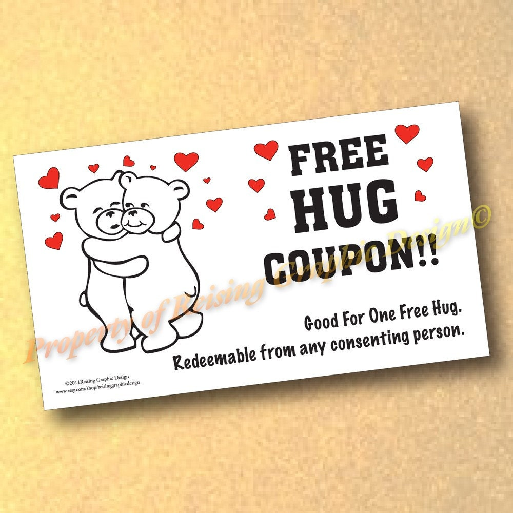 Items similar to novelty quotfree hugquot card 15 cards great for Novelty business cards
