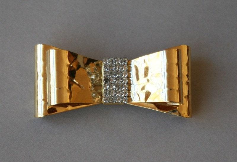 Rhinestone Gold Bow Brooch