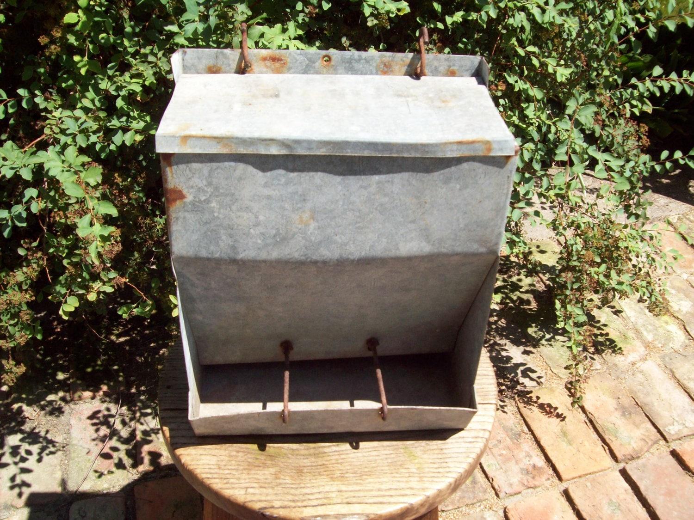 Vintage galvanized chicken feeder by thevrose on etsy for Old chicken feeder ideas