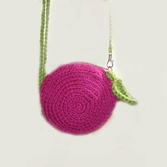 Crochet Round Purse : mini Bag. Cherry crochet modern Bag. Fashion mini knitted round bag ...