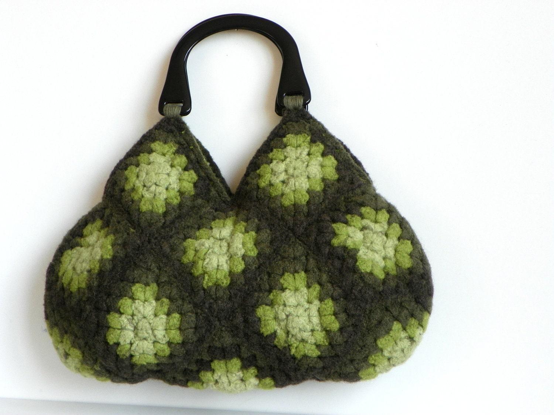 NzLbags-войлочная сумочка вязание крючком Шерсть - оттенки зеленого цвета Замечательный - Nr-0203