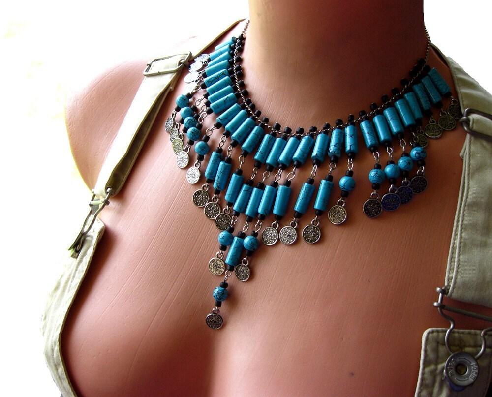 Черно-бирюзовый Османской Стиль ожерелье