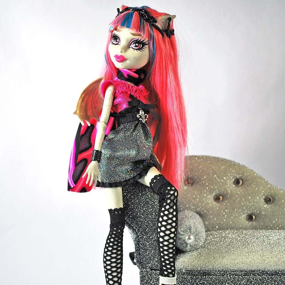 Monster High handmade three piece doll outfit bright and colorful Rochelle Goyle dress, fish net stockings and gorgeous scarf
